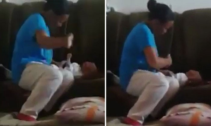 How could anyone do this? One-minute video shows woman hitting newborn baby nonstop