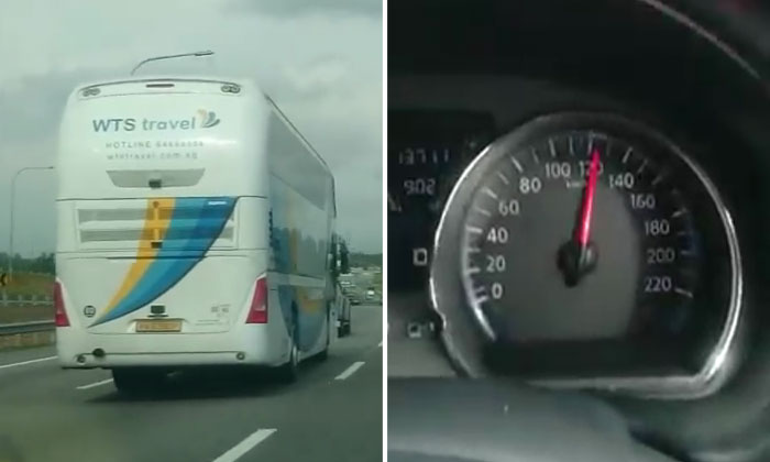 Watch how S'pore bus speeds past 120km/h on Malaysian expressway