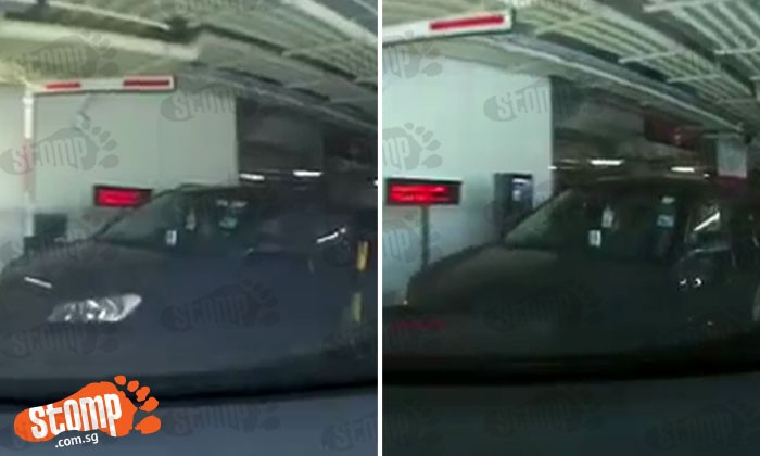 Car appears out of nowhere and tailgates another driver -- just to avoid parking fee at SAFRA Punggol