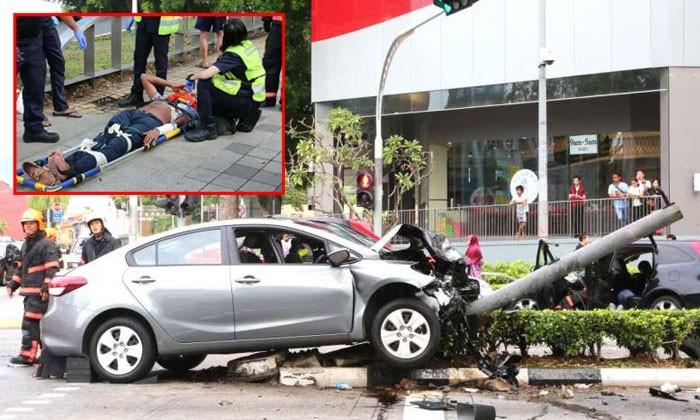 71-year-old pedestrian among 8 injured after car hits traffic light in Bugis