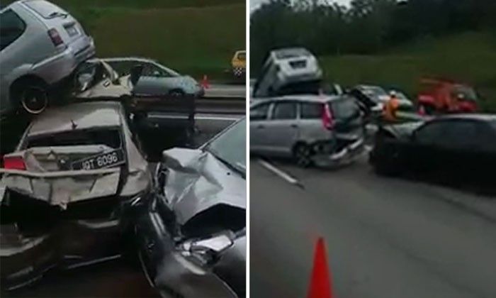 Huge accident in Malaysia: Try to count how many cars has been damaged