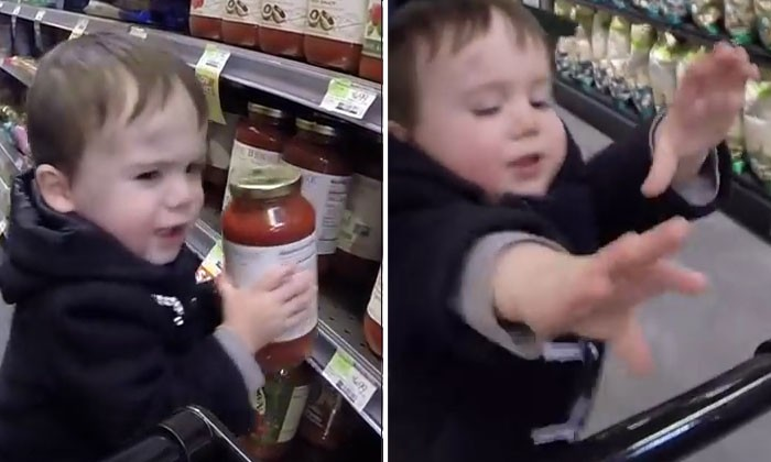 2-year-old boy goes grocery shopping -- and handles trolley like a boss
