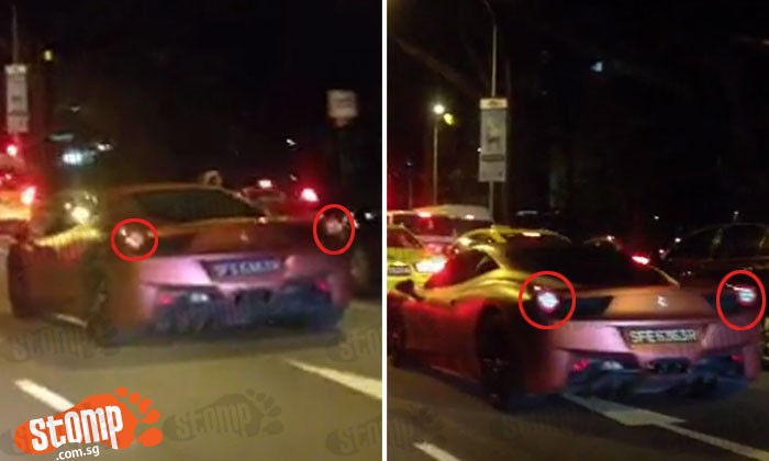 Ferrari spotted with excessively tinted windows and modified brake lights