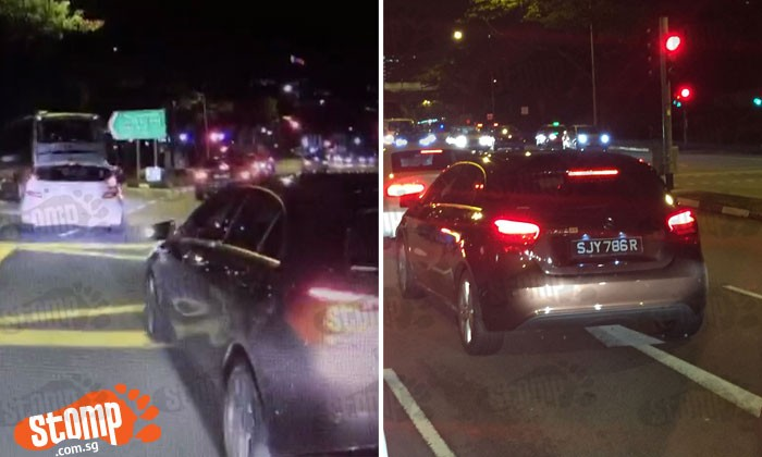 Driver of Mercedes SJY786R cuts into Stomper's lane and jams on brakes