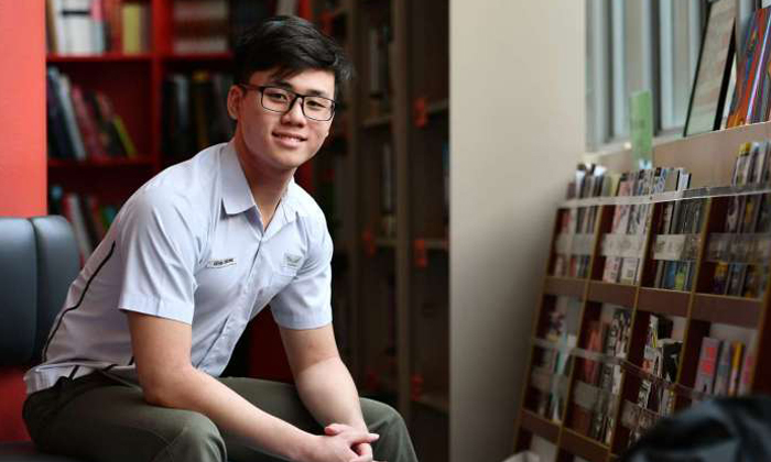 Kevin Cheong studied for ten hours every day in the lead-up to the exams and finished with a score of nine points.ST PHOTO: LIM YAOHUI