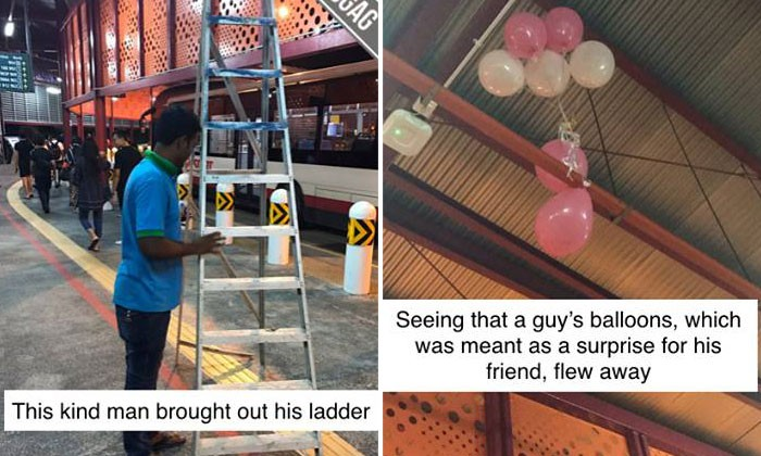 Worker brings out ladder to retrieve balloons from ceiling for man