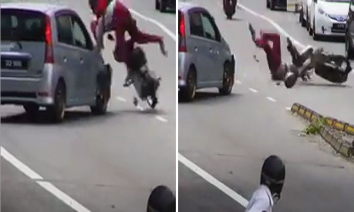 Who to blame? Driver makes a turn and crashes into speedy motorcyclist who was flung onto road