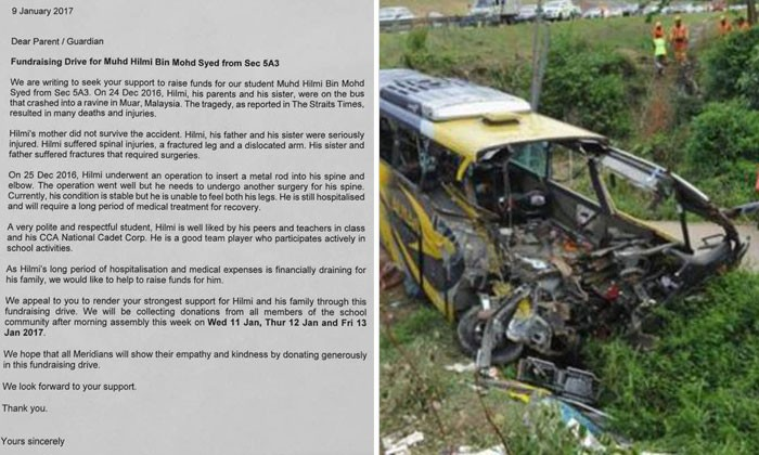 Meridian Sec wants to raise funds for severely injured student involved in Johor bus crash -- who also lost his mother
