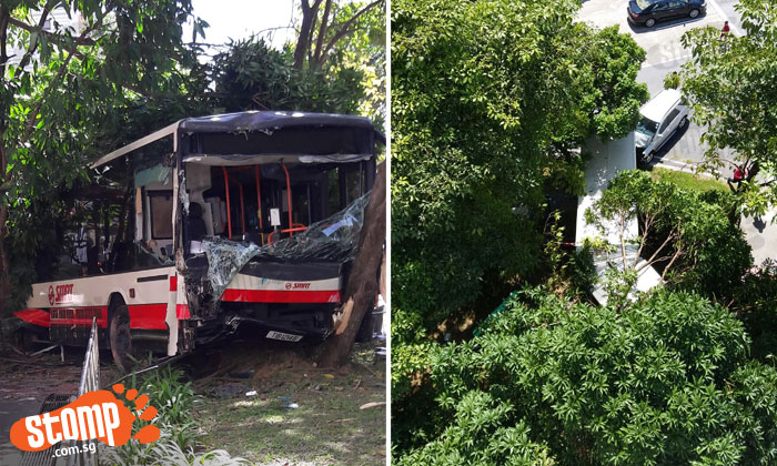 A bus was left badly damaged after an accident with a car at Choa Chu Kang Drive next to Block 689B.