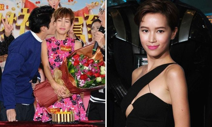 Left: Kelly Fu receiving a kiss from Matthew Ho for her birthday. Right: Kelly Fu