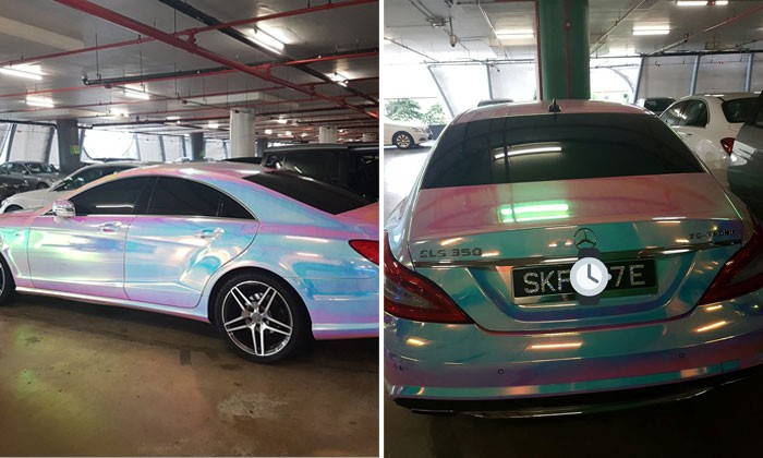 Mercedes resembles cotton candy and Paddlepop complete with bedazzled licence plate -- but it should still be parked properly