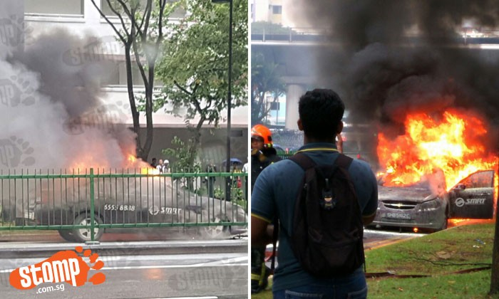 SMRT taxi consumed by intense fire which melted its glass at Woodlands Avenue 6