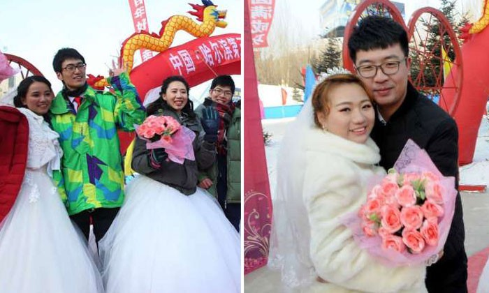 18 Chinese couples tie ceremonial knot in minus 20 deg C at Harbin ice festival