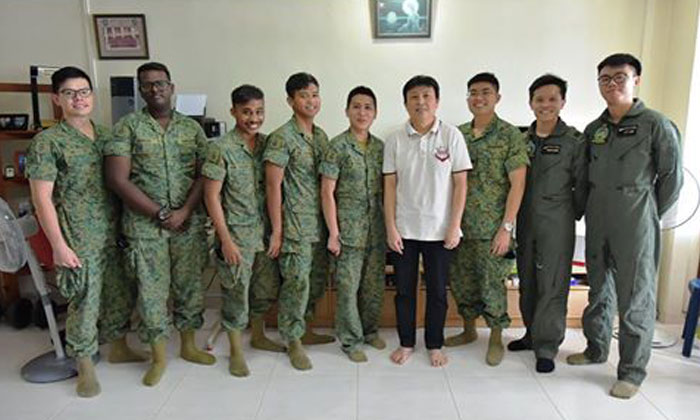 Mr Phua is recuperating well at home and thankful for the medical teams' prompt action. Here, the Rocky Hill Medical Team and 1 Medical Squadron paid a home visit to Mr Phua after he was discharged from Singapore General Hospital. Photos and captions: Facebook