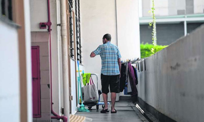 Mr Ridsdale spent almost two decades on the streets before moving into a Roman Catholic welfare home last August. The staff there helped him apply for public assistance. Photo by The Straits Times (Jamie Koh)