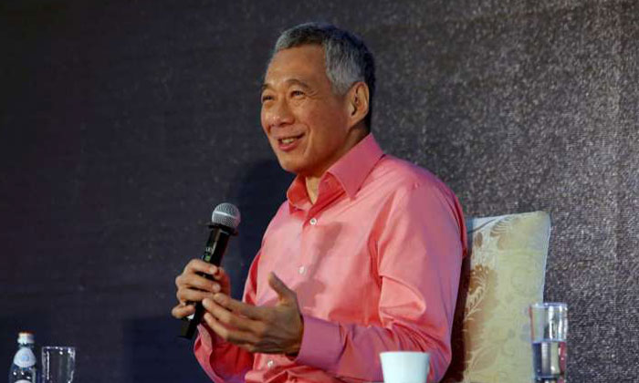 Prime Minister Lee Hsien Loong speaks at Camp Sequoia on Feb 24, 2017. PHOTO: MCI