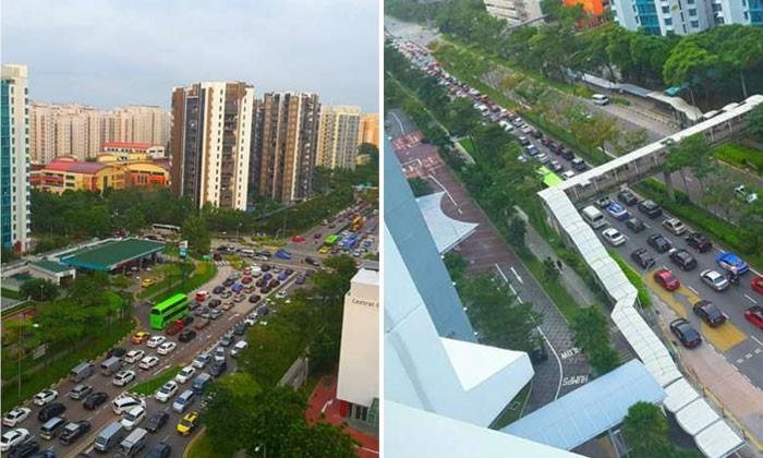 The traffic situation in Punggol Central at around 8.15am on Tuesday (March 7) morning. Photos: Mardiyatu El-Hazima/Facebook