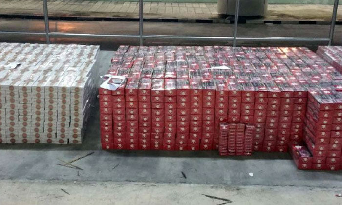 Total exhibits of cigarettes seized by ICA officers PHOTO: IMMIGRATION & CHECKPOINTS AUTHORITY