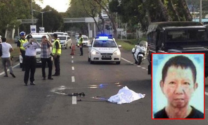 Policemen at the scene of the accident where Mr Lee Thien Yu (inset) was run over. PHOTOS: THE STAR