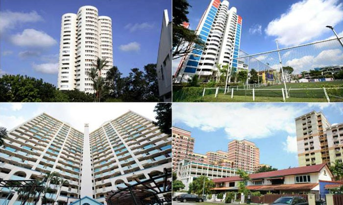HDB flats with unusual shapes found in (clockwise from top left) Ang Mo Kio, Aljunied, Whampoa and Toa Payoh. PHOTOS AND CAPTIONS: ST