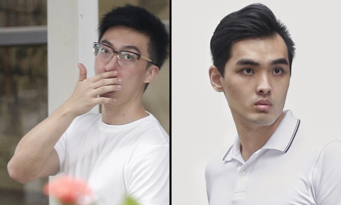 Walden Lee Guo Quan (left) and Ang Teck Wee were both sentenced to 21 months' probation and 180 hours' community service for cheating 11 people out of $7,670. ST PHOTOS