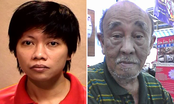 Left: Woo Mui Mee was convicted on 20/3/2017 to 3 years' imprisonment. Right:Retiree William Wong Keng Woo was found dead in his three-room flat in Block 114, Yishun Ring Road, following a violent tussle involving his tenant.