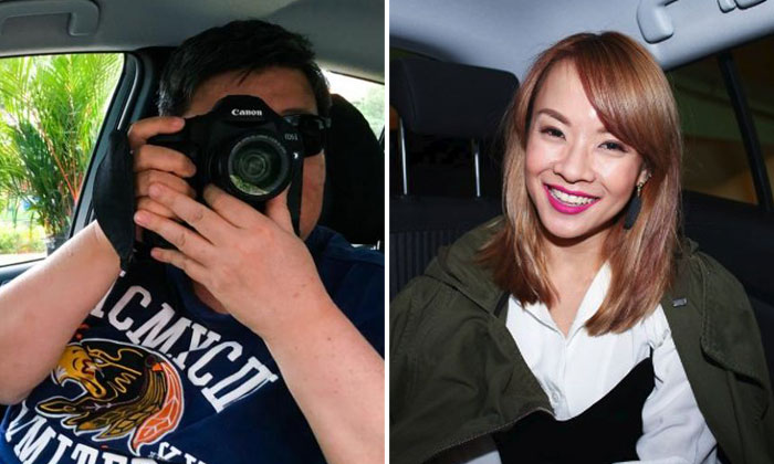 Ubergrapher, known to others as Maverick (left) and his passenger, Jade Seah (right).