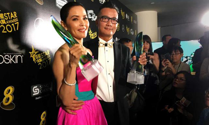 Zoe Tay and Chen Hanwei won Best Actress and Best Actor respectively. Photo: The Straits Times