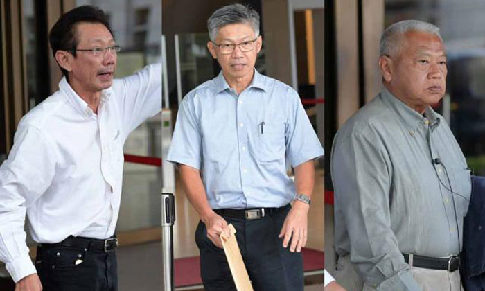 A son of Swee Kee chicken rice founder, Moh Tai Siang (left) is suing two brothers, Royston Moh Tai Suan (middle) and Moh Tai Tong (right) in tussle over a house which has been sold for $16 million. Photo: ST