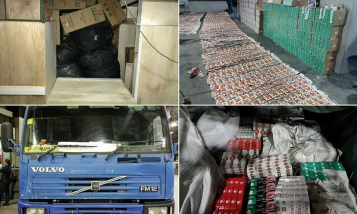 The 750g of chewing tobacco and 6,470 cartons of duty-unpaid cigarettes were seized from two attempts to smuggle them via the Woodlands Checkpoint last Friday (April 21) and Saturday. PHOTOS: ICA