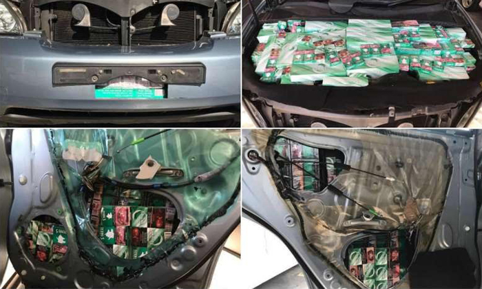 The cigarettes were found hidden in various parts of the car, including the engine compartment and front and rear bumpers. PHOTO: ICA