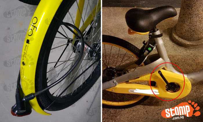 Left: Bicycle locked up at Block 216D Compassvale Drive. Right: Bicycle with missing pedal at Yishun Block 218