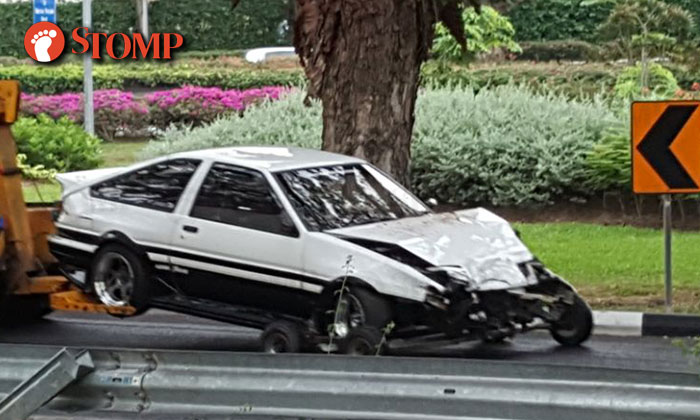 Initial D Car Gets Towed After Accident At Bedok South