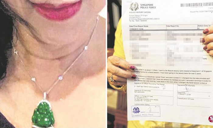Photo: Lianhe Wanbao. The jade misplaced jade necklace (left) and police report (right)
