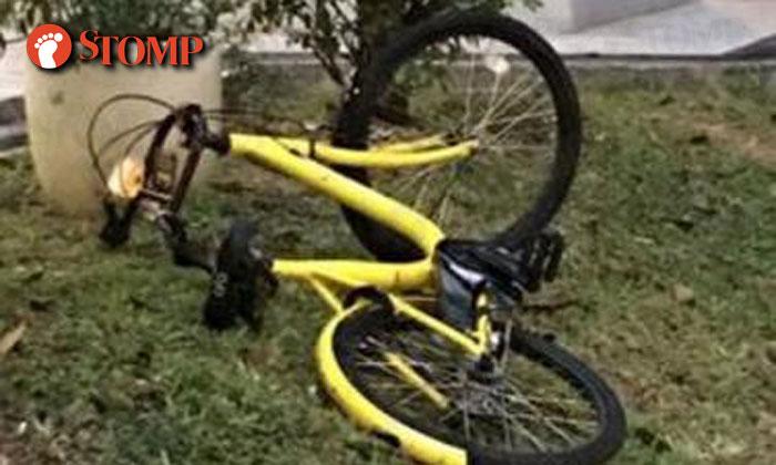 Stomp photo of an mistreated ofo bike.