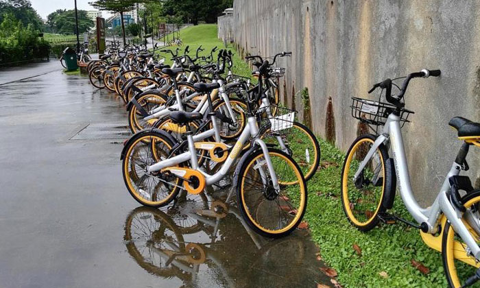 Some of the oBikes left along Pang Sua Park Connector. TNP PHOTO: NG KENG GENE