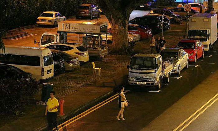 The open-air carpark between Lorongs 21 and 23 in Geylang used to be busy with freelance prostitutes.TNP PHOTO: PHYLLICIA WANG