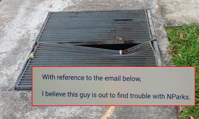 """Mr Dixon Liw provided feedback about damaged drain covers (above photo) to NParks, but received an email that said he was """"out to find trouble"""" (inset)."""