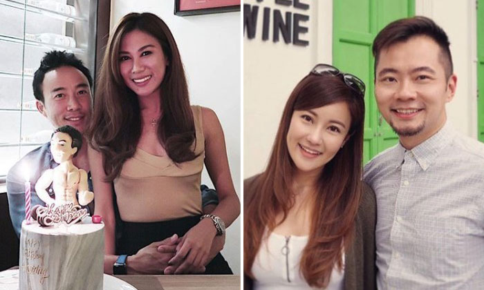 Allan Wu is seeing model-emcee Yvonne Lee (left) while Daniel Ong is seeing make-up artist Linda Lee (right).