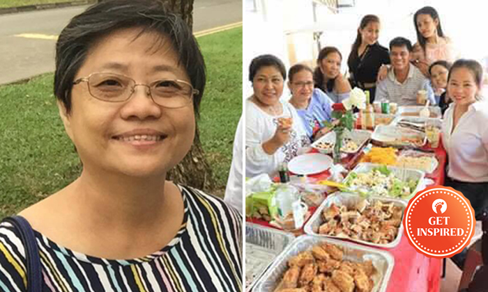 Mrs Agnes Tan (left) held a birthday party for her domestic helper and invited all her friends.
