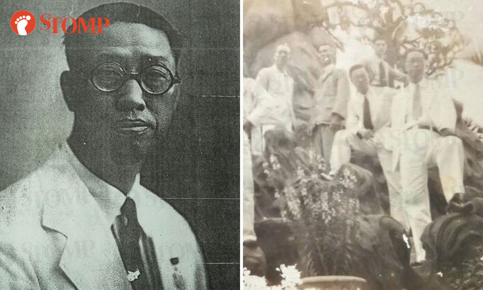 Zaini's grandfather wearing his medal (left) and with his friends at Haw Par Villa (far right).