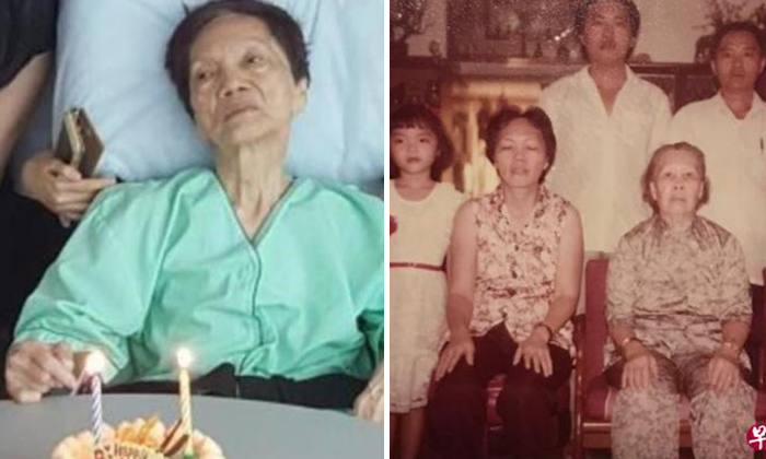 Ms Wang (left photo) posing with her daughter (first from the left) and second son (second from the right) in the right photo. Photo: Lianhe Wanbao.
