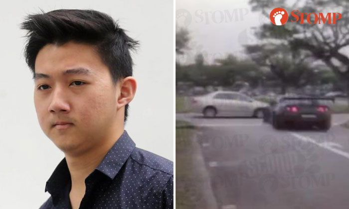 Herman Shi Ximu, 19 (left) and the moment when he crashed his Nissan GT-R into the side of a Toyota Corolla (right).