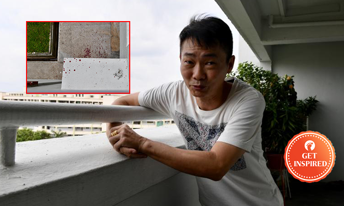 Mr Wu, one of the five residents who helped to save the man. Photo: Shin Min Daily News