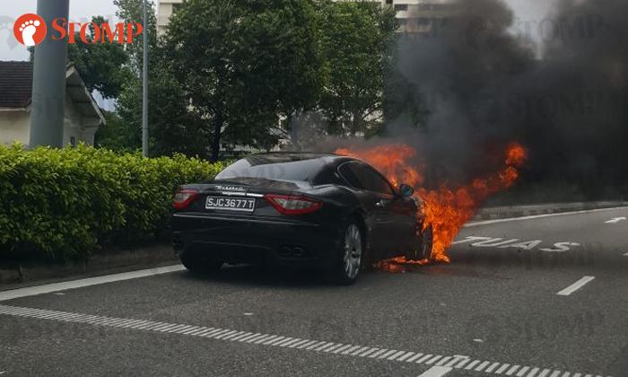 Delightful Maserati Catches Fire Along KPE