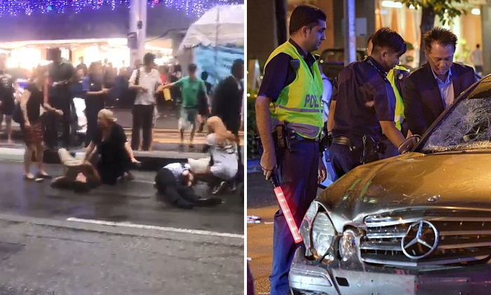 Four pedestrians were injured (left) after a Mercedes driver (right) ploughed into them at Tanjong Pagar PHOTO: STOMP/THE STRAITS TIMES