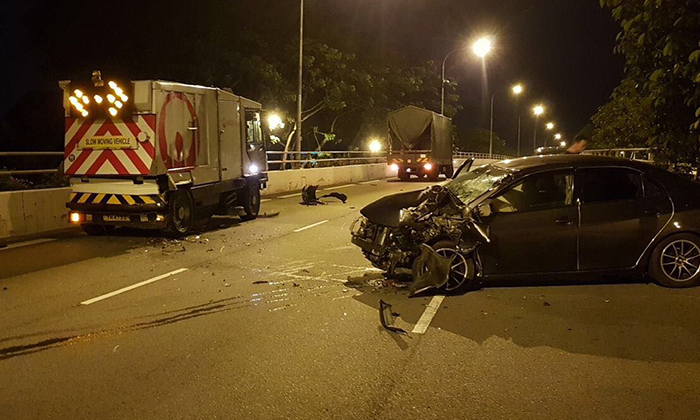 The 40-year-old driver who crashed into the rear end of a lorry was conveyed to Tan Tock Seng Hospital