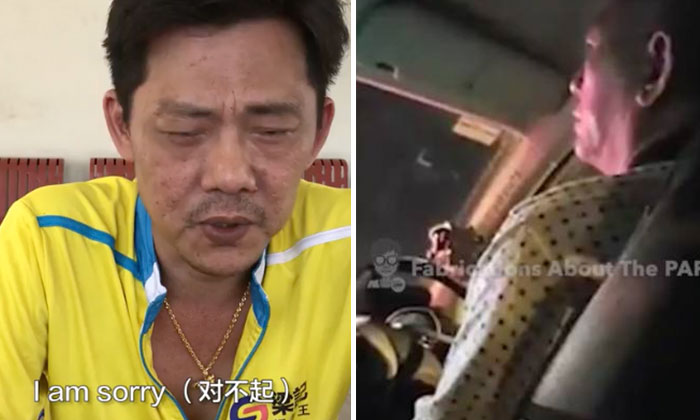 Mr Dominic Neo (left) apologises to the taxi driver (right) he shamed on live-stream video.