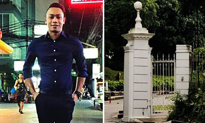 The driver, Mr Khairul Anwar, 25, (left) crashed into a pillar near the rear gates of Istana.
