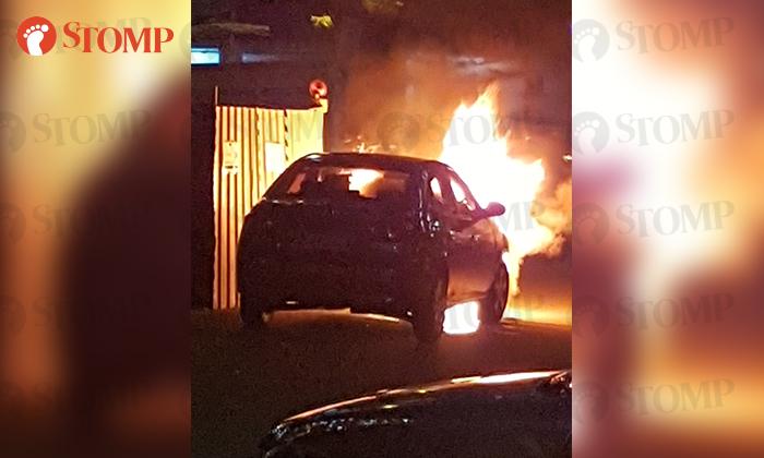 A fire engulfed a car at a carpark near Block 19 along Marsiling Lane on Dec 26